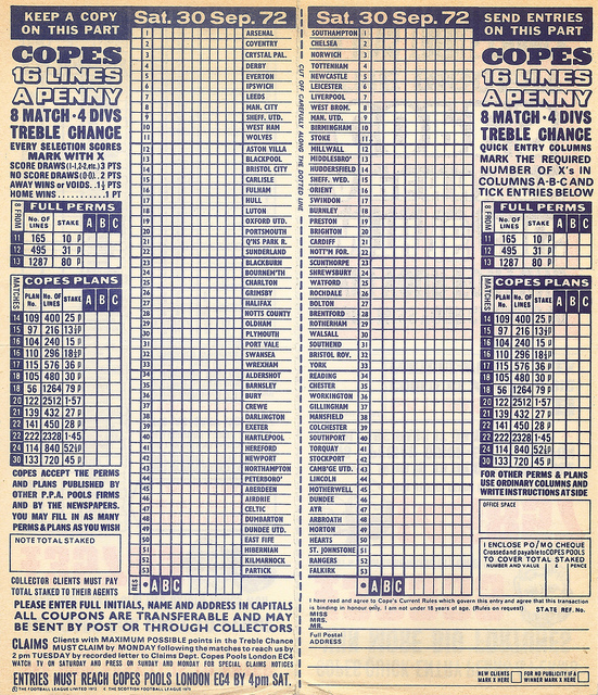 football pools | Remembrance of Things Past