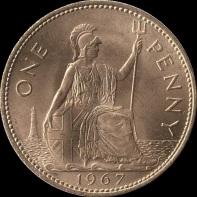 British_pre-decimal_penny_1967_reverse