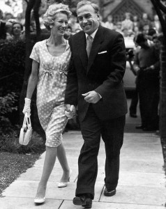 England and Wolverhampton football captain Billy Wright leaves the registrar's office with his bride, Joy, the eldest of the three singing Beverley Sisters, after their marriage.
